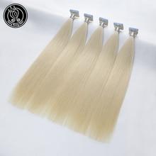 Человеческие волосы для наращивания на ленте, настоящие волосы remy на ленте, ПУ кожа, уток, бесшовные человеческие волосы, платиновый блонд, 2 г/шт., 16-22 дюйма, 50 шт