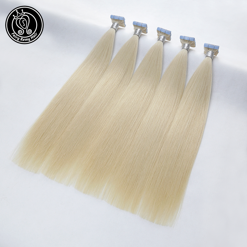 Tape In Human Hair Extensions Real Remy Hair On Tape PU Skin Weft Seamless Human Hair Platinum Blonde 2g/pcs 16-22 Inch 50 Pcs