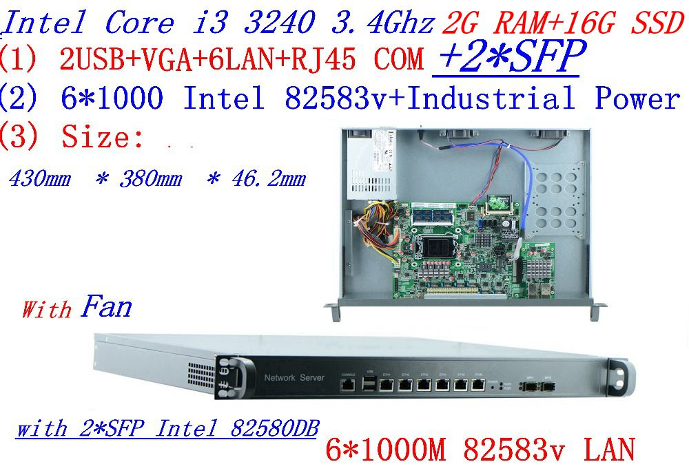 Industrial 1U Firewall Server Router 2G RAM 16G SSD 6 1000M INTEL 82583v Gigabit With 2 SFP I3 3240 3.4Ghz Mikrotik PFSense ROS
