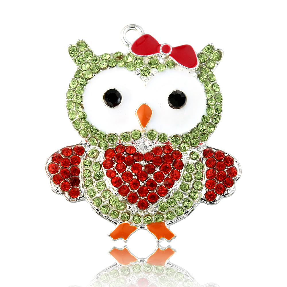 1PC Green St Paddys Day Owl Shamrock Saint Patricks Rhinestone Pendant for Chunky Necklace Bubblegum Necklace