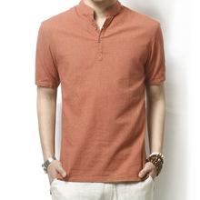 2015 Summer Men s Loose Linen Shirt Male Plus Size Short Sleeve Shirt