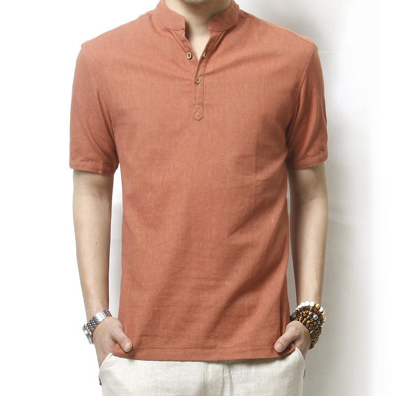 Summer Male Solid Loose Linen Shirt Mens shirt Plus Size Short ...