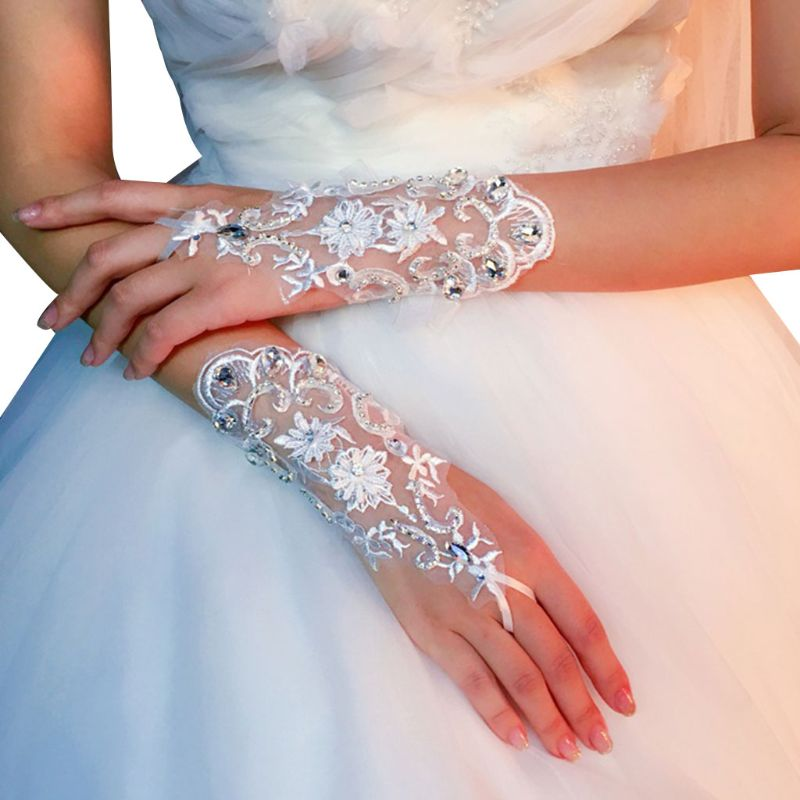 Summer Short Lace Gloves Hand-made Rhinestones White Mittens Wedding Dress Accessories for Bride Women