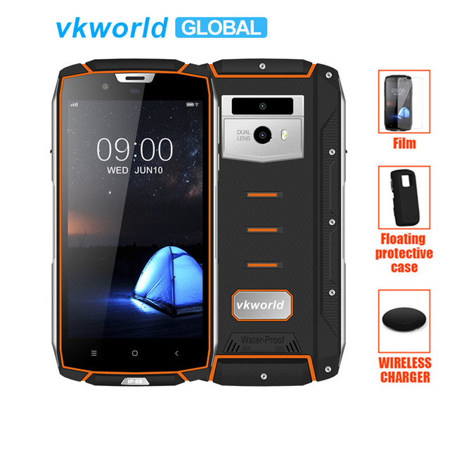 "IP68 Waterproof Rugged mobilephone vkworld VK7000 5.2"" MTK6750T Octa Core Face ID 4GB RAM 64GB ROM Wireless Charge 4G Lte Phone"