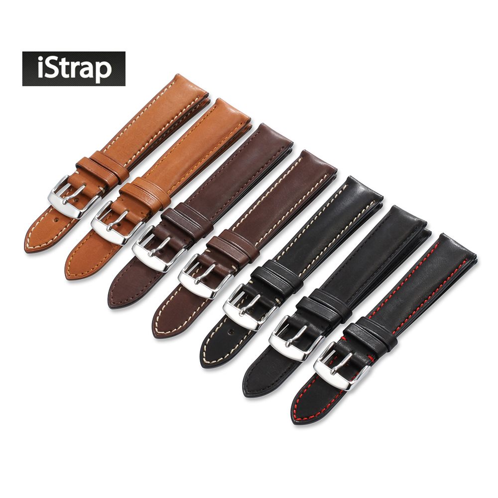 iStrap 18mm 19mm 20mm 21mm 22mm 24mm France Calf Quick Release Spring Bar Leather Watch band Watch Strap For Omega Tissot Seiko eache 20mm 22mm genuine leather watchband with retro matte leather watch band crazy horse watch strap quick release spring bar