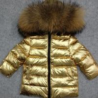 30 Degree Kids Outwear Coat Natural Raccoon Fur Boy Down Jacket White Duck Down Girls Winter Coat Hooded Children Snowsuit Z145