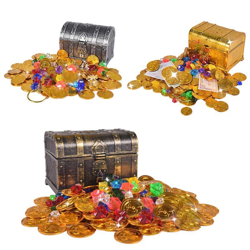 Caça ao tesouro Caixa de Caixa do Tesouro Das Crianças Brinquedo de Plástico Grande Caixa Retro Gemas Jóias de Moedas de Ouro e Pirata Playset Pack