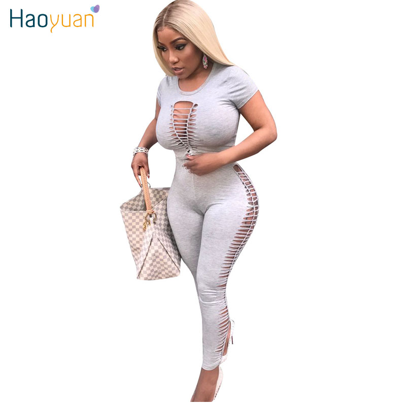 c58846ca5df Detail Feedback Questions about HAOYUAN Two Piece Sexy Jumpsuits Full Body  Suit Summer Black Wine Red Overalls Cut Out Crop Top Bodycon Rompers Womens  ...