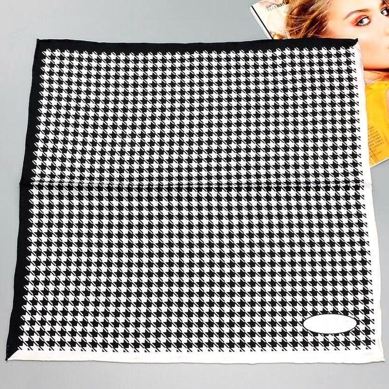 HANSCARF Square Silk   Scarf   Women 2017 Fashion Houndstooth Print 100 Pure Silk   Scarf     Wraps   Bandana Necktie