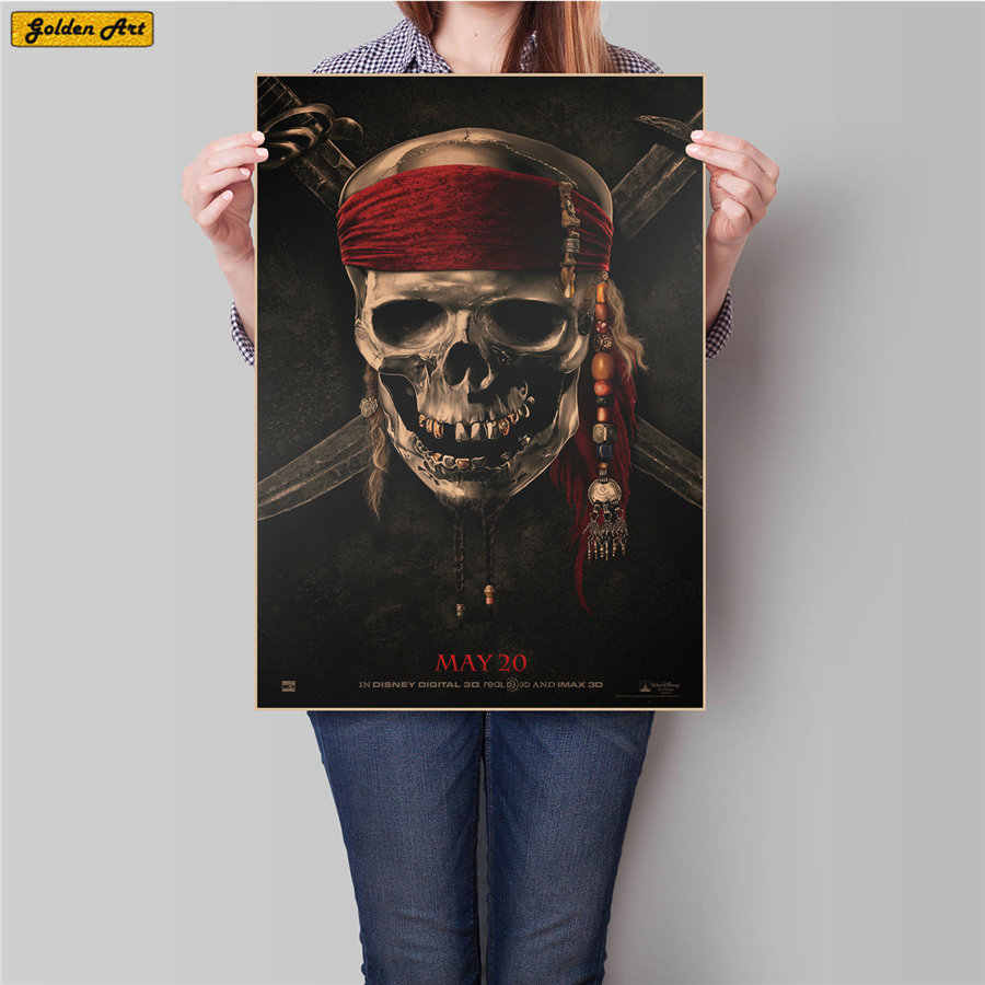Pirates of the Caribbean movie Poster vintage kraft paper poster bar cafe home wall sticker print picture painting 45.5x31.5cm