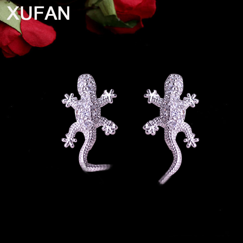 New Arrival Gothic Punk CZ Zircon Lizard Stud Earring for Women Silver Color Animal Geckos Earrings Jwewlry Dropshipping