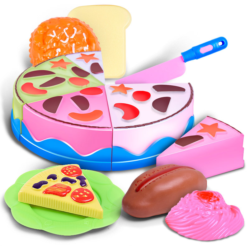 Plastic Cutting Birthday Party Cake Hamburg Slice Baby Kitchen Food Pretend Play House Artificial Classic Toy for Children Kids