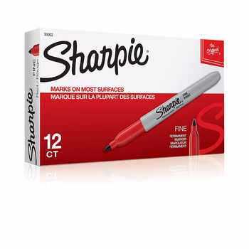 12 Pcs/lot Round Toe Fine Point Sharpie Permanent Markers Black Blue Green Red Ink - DISCOUNT ITEM  22% OFF All Category