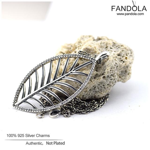 Longitud de cadena 90 cm 925 joyería de plata esterlina pavimenta cz tropical palm tree collar colgante para las mujeres encantos diy de la joyería que hace