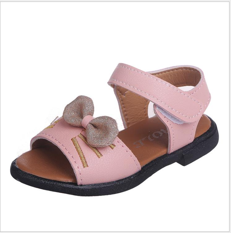 2019 New Summer Children Sandals for Girls Soft Leather Bow Princess Girl Shoes Kids Beach Sandals Baby Toddler Sandals Shoes