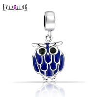 Everbling Jewelry Owl Blue Enamel Dangle 925 Sterling Silver Clip On Charm Bead W Lobster Clasp
