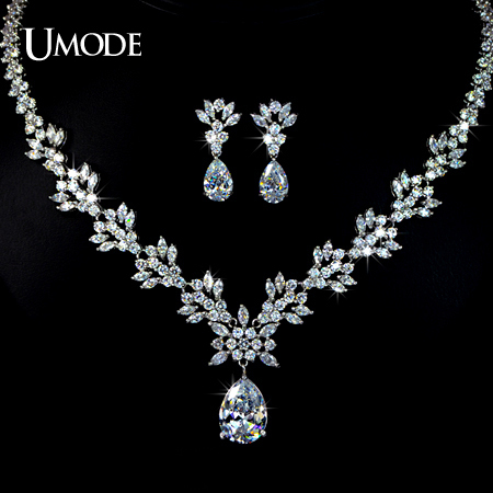 font b UMODE b font Brand Bijoux Rhodium plated AAA Cubic Zirconia Flower Necklaces font