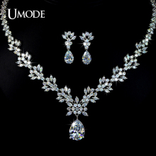 UMODE Brand Bijoux Rhodium plated AAA Cubic Zirconia Flower Necklaces Earrings Set For Women Bridal Jewelry