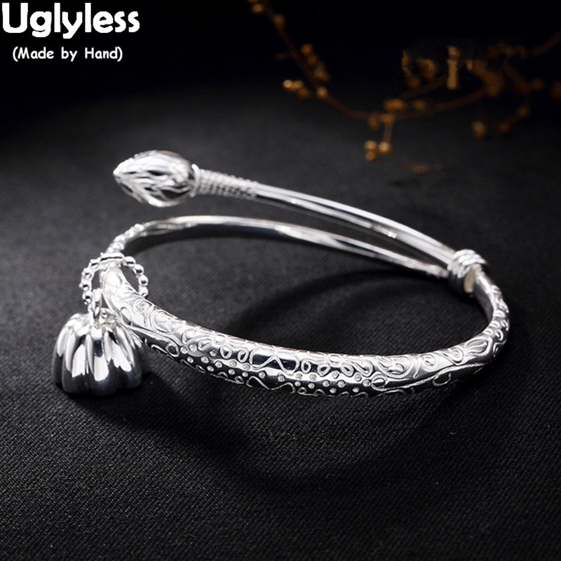 Uglyless Real S925 Sterling Silver Bangles Women Ethnic Party Dress Fine Jewelry Buddhism Lotus Charms Bangle Femme Retro BijouxUglyless Real S925 Sterling Silver Bangles Women Ethnic Party Dress Fine Jewelry Buddhism Lotus Charms Bangle Femme Retro Bijoux