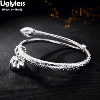Uglyless Real S925 Sterling Silver Bangles Women Ethnic Party Dress Fine Jewelry Buddhism Lotus Charms Bangle Femme Retro Bijoux