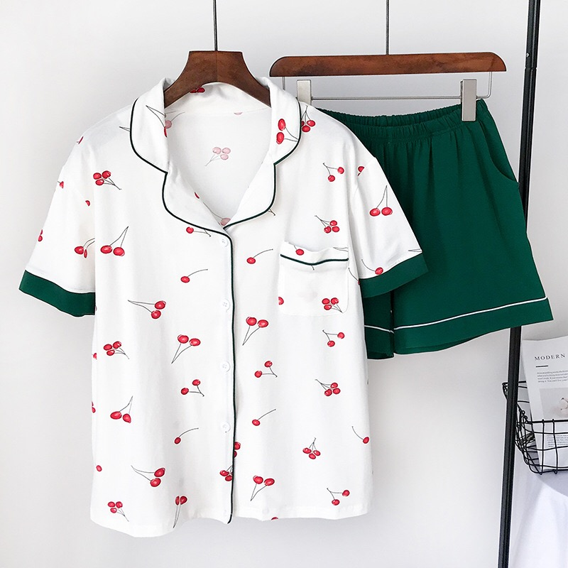 White Fresh cherry short   pajamas     sets   women pure cotton summer ladies pyjamas short sleeved pijamas mujer women night   pajamas