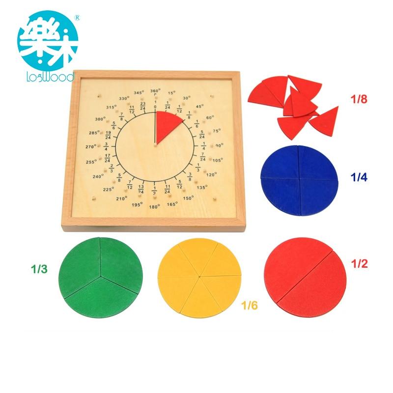 Baby font b Toys b font Circular Mathematics Fraction Division Teaching Aids Montessori Board Wooden font