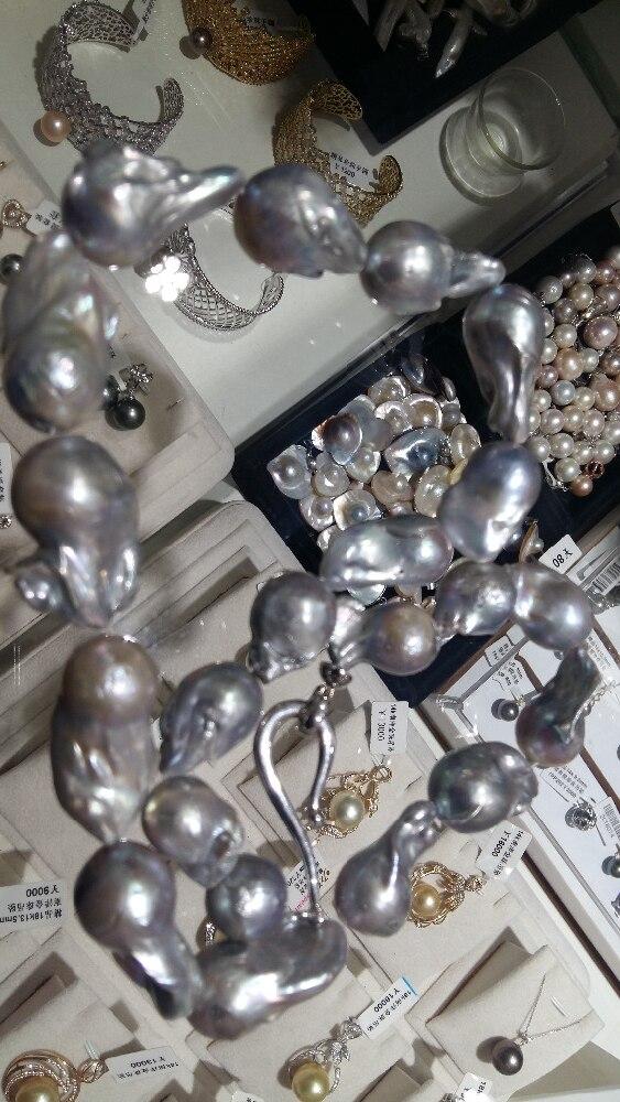 Очаровательный классический огромный ААА ЮЖНОГО МОРЯ барокко серый жемчужное ожерелье 18 AAA
