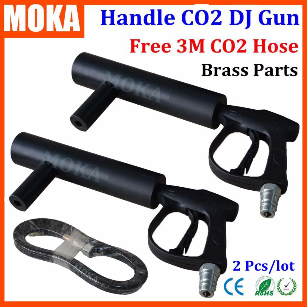 Cheap price 2pcs/Lot High quality Handhold Co2 Gun DJ guns with Co2 fogger effect 3mters Free Co2 Gas Hose Shot 7 8meter
