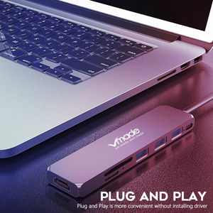 Image 3 - Vmade البسيطة تصميم USB C 3.0 المحور نوع C محول 1080p لهواوي سامسونج غالاكسي ملاحظة s9 s8 نوع  C USB C 7 في 1 محور البسيطة محول