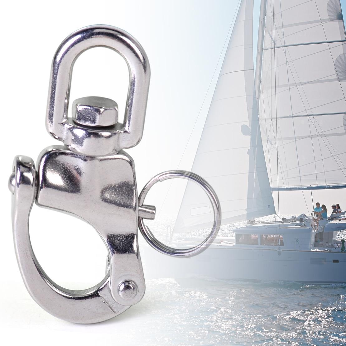 Stainless Steel Heavy Duty Snap Shackle D Ring Swivel Bail Marine Boat Yacht