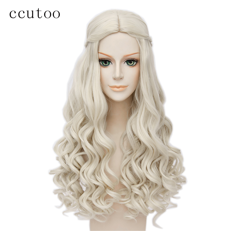 ccutoo Alice in Wonderland Vit drottning Cosplay Wig Blond Wavy Long Braid Styled Syntetisk Hår Värmebeständig Fiber