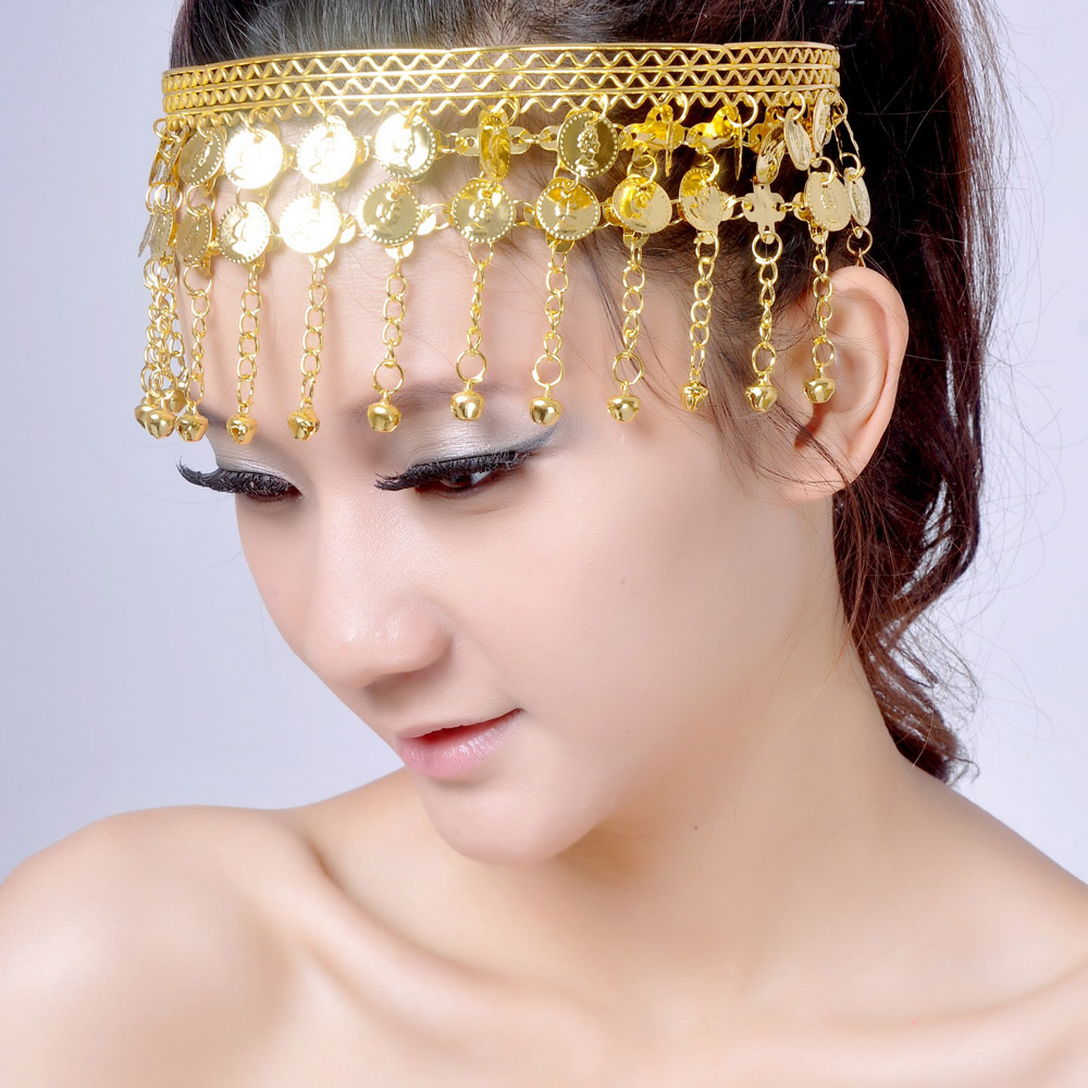 Belly dance accessories indian dance chain hair accessory with bell metal coins bell headband hair bands
