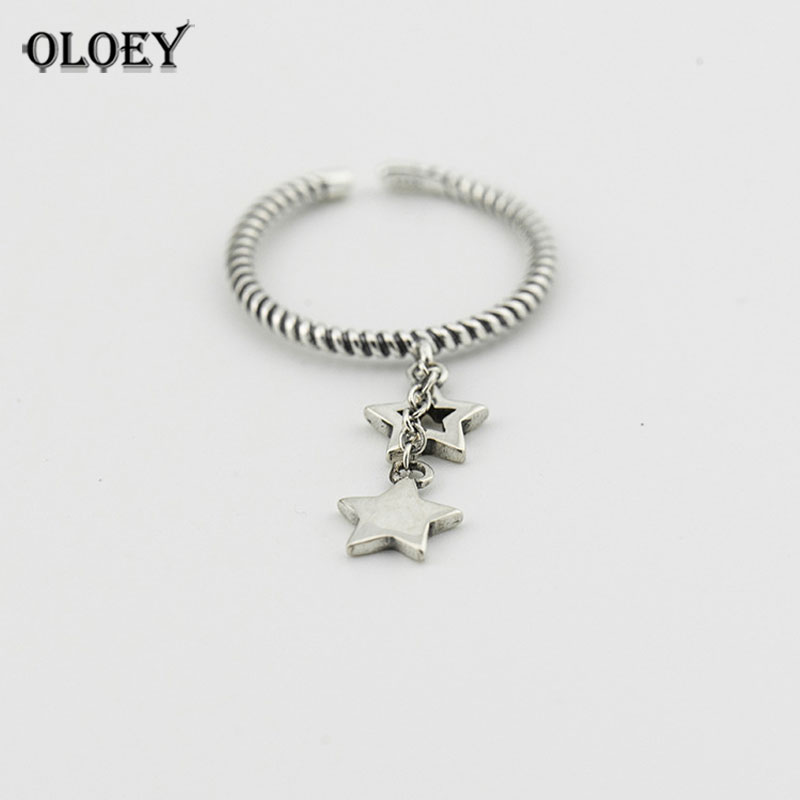 OLOEY Genuine 925 Sterling Silver Open Rings For Women Lady Double Stars Finger Ring Fine Jewelry 2018 New Arrival Gifts YMR224