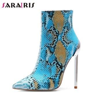 9bdaeb476 SARAIRIS/Новое поступление 2019, хит продаж, большие размеры 34-45,  ботильоны на молнии, женская обувь, пикантная офисная обувь на тонком  каблуке, жен.