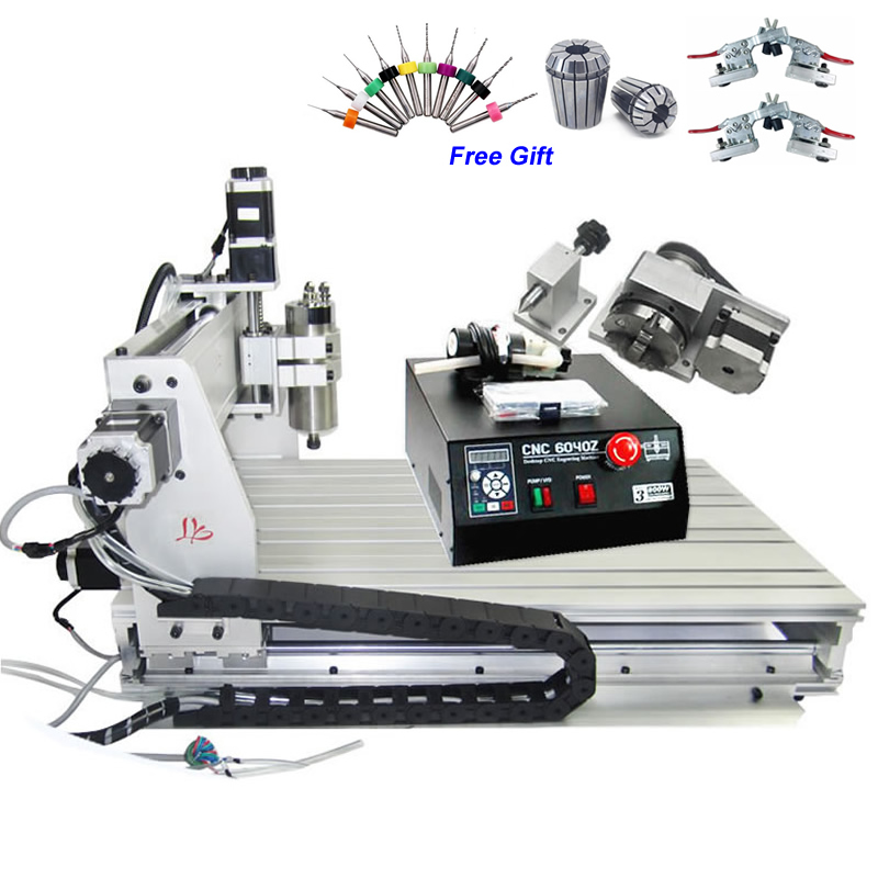 Freeshipping! CNC 6040Z-S80 4 axis engraving machine with 1.5KW spindle for engraving metal,woods, 6040 CNC router