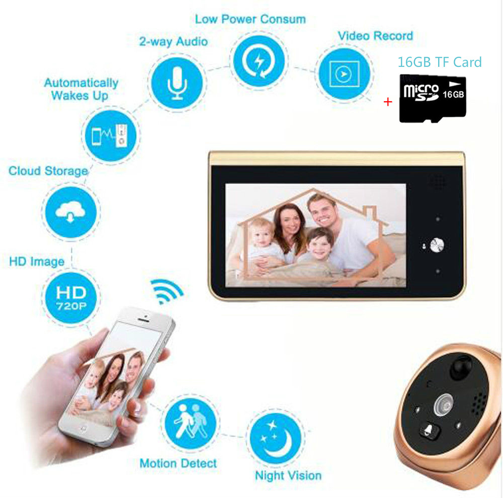 4 3 Inch Monitor Smart Peephole Video Doorbell Ring HD720P Wifi Camera 16GB PIR Motion Detection