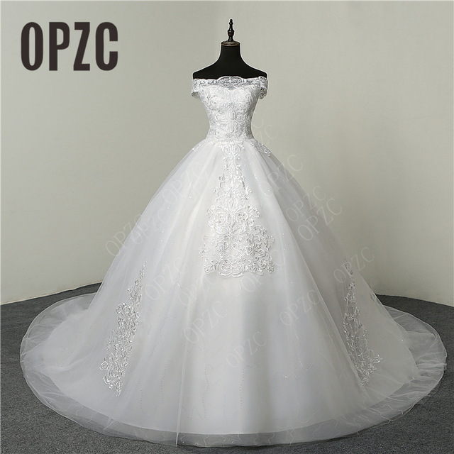 b024bcdc2d5 30% Hot Sale Fashion Simple Lace Tull 2018 Wedding Dresses 100cm Long Train  Boat Neck