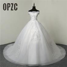 35% Hot البيع موضة بسيطة الدانتيل تول 2020 فساتين الزفاف 100 سنتيمتر قطار طويل قارب الرقبة أنيقة حجم كبير Vestido De Noiva العروس