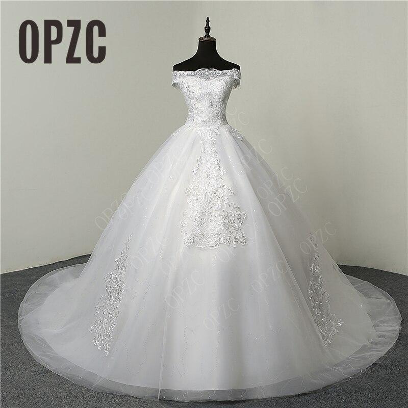 35% Hot Sale Fashion Simple Lace Tull 2019 Wedding Dresses 100cm Long Train Boat Neck Elegant Plus size Vestido De Noiva Bride-in Wedding Dresses from Weddings & Events
