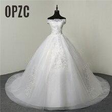 35% heißer Verkauf Mode Einfache Spitze Tull 2020 Hochzeit Kleider 100cm Lange Zug Boot ausschnitt Elegante Plus größe Vestido de Noiva Braut