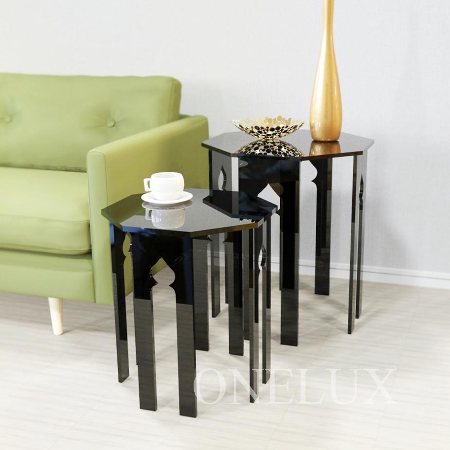 (2 шт./лот) lucite иногда стороне стояка Таблица, небольшие кофе, чай таблицы, выгравированы Акриловые вложенности столики
