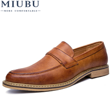 MIUBU Oxford Shoes for Men Leather 2019 Lace Up Front Dress Fashion Pointed Toe Male Flats Luxury