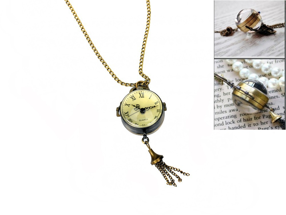 Fashion lovely round quartz watch pendant necklace bronze crystal fashion lovely round quartz watch pendant necklace bronze crystal ball necklace watch women lady fashion casual watch in pocket fob watches from watches aloadofball Gallery