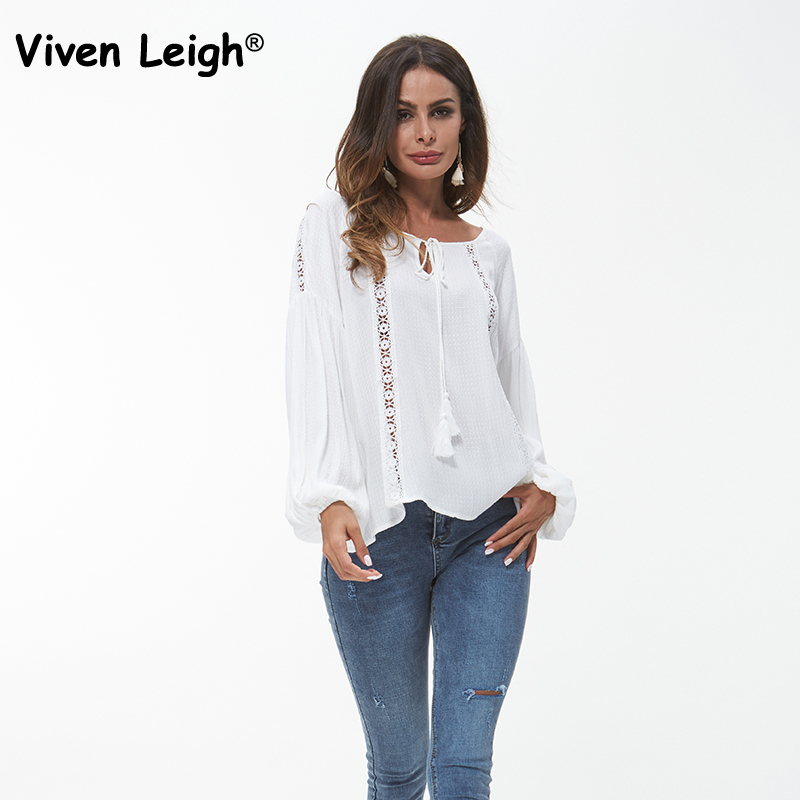 Chic Hollow Out White Blouse Shirt 2018 Autumn Women Tassel Lace Up Tops Lantern Sleeve Long Sleeve Casual Female Blouse Blusas