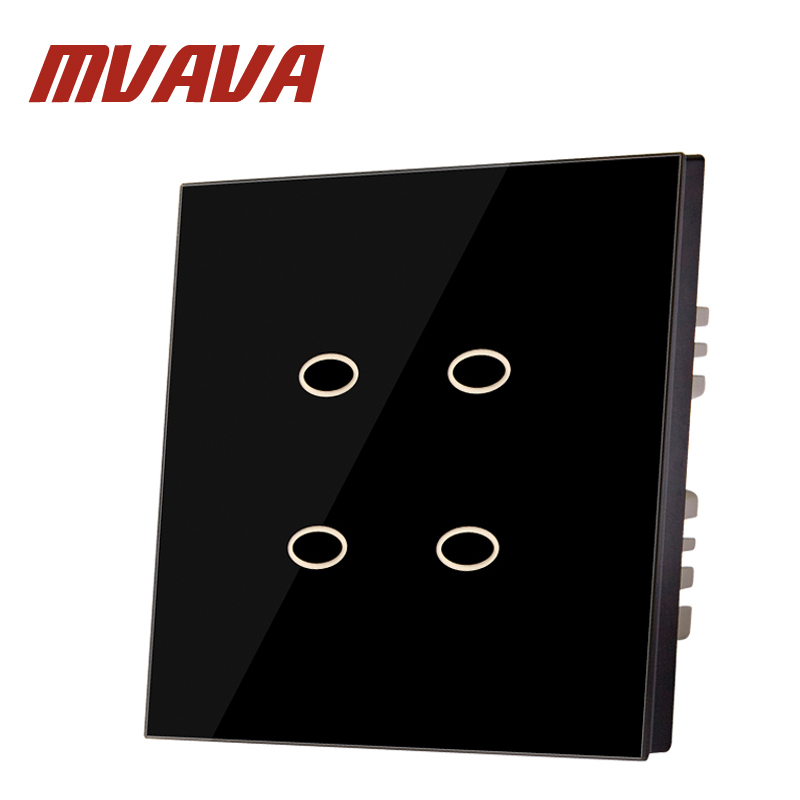 MVAVA 4 Gang 2 Way Touch Switch Luxury Black Crystal Glass Panel Home Wall Light Switch  IC Origining From UK Manufacturer smart home us au wall touch switch white crystal glass panel 1 gang 1 way power light wall touch switch used for led waterproof