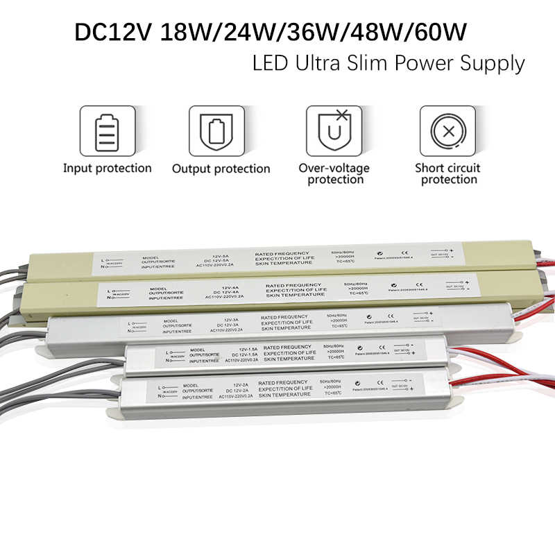 AC110-220V 12V 1.5A 3A 5A LED Driver Ultra thin Switching Power Supply Lighting Transformer for Slim Advertising Light Box signs