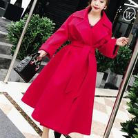 Fashion Ladies elegant wool blends coat winter high waist skirt slim temperament women woolen overcoat