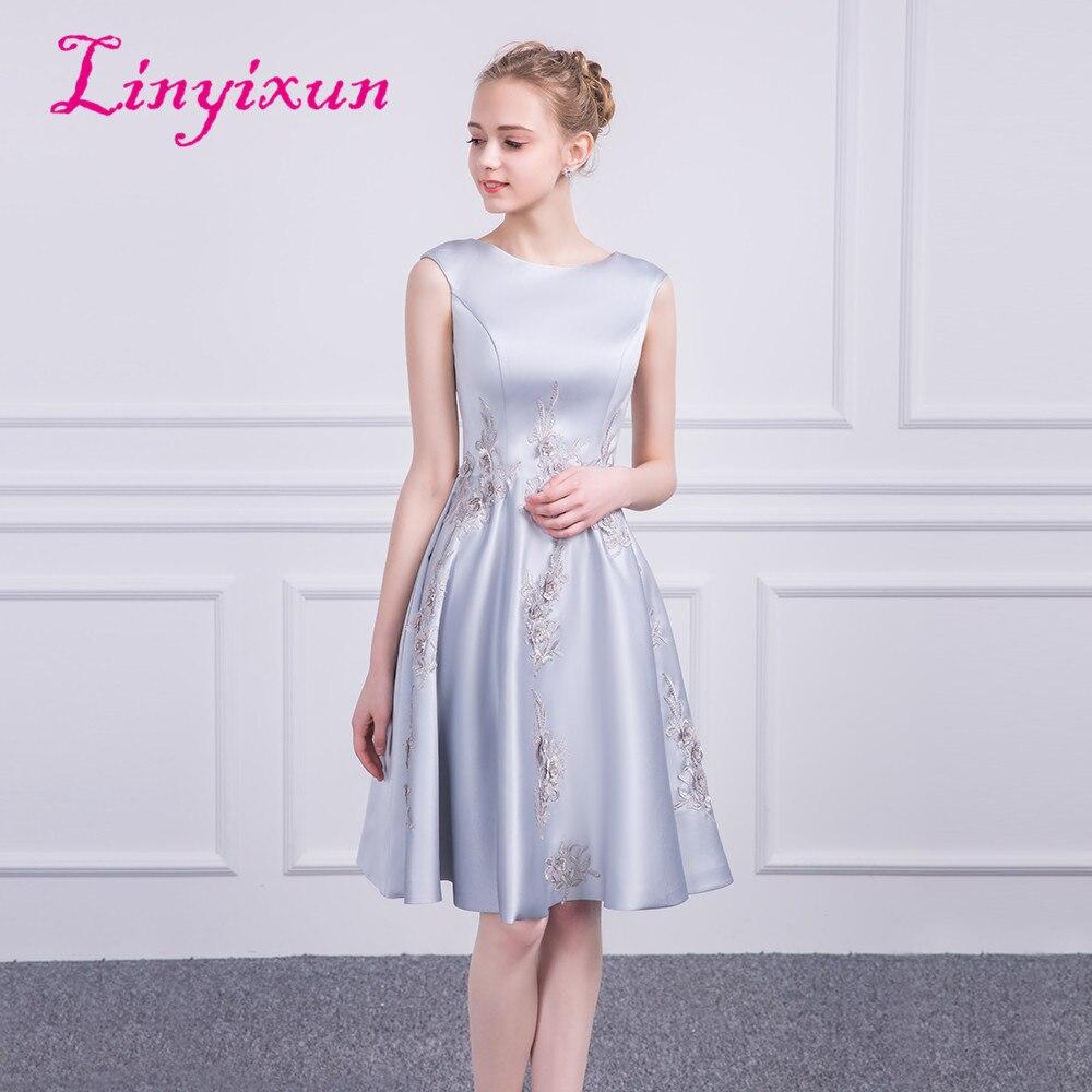 e8d004d2593 Linyixun Cheap Prom Dresses 2018 A Line Scoop Zipper Mini Appliques  Cocktail Party Dress Gray Short Satin Homecoming Dress