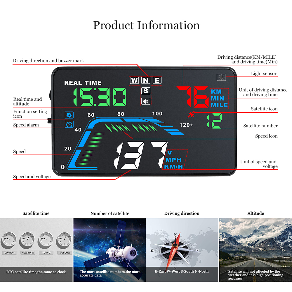 Image 4 - Auto Car HUD GPS Head Up Display HD 5.5'' Speedometers Overspeed Warning Dashboard Windshield Projector Multi Color Car Auto HUD-in Head-up Display from Automobiles & Motorcycles