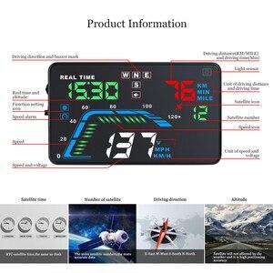 Image 4 - אוטומטי רכב HUD ה GPS הראש תצוגת HD 5.5 האצות Overspeed אזהרת לוח מחוונים שמשה קדמית מקרן רב צבע רכב אוטומטי HUD